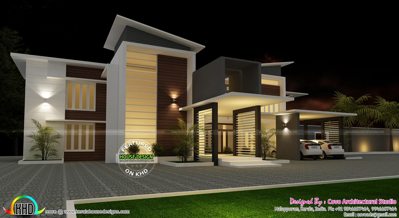 Villa plan in contemporary style kerala home design and for Kerala style villa plans