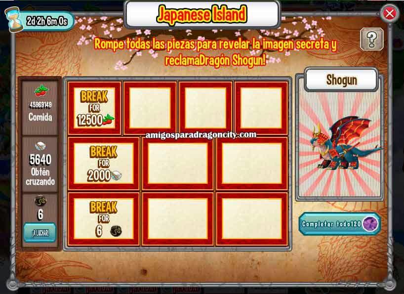 imagen de las tareas del shogun de la isla dojo de dragon city de facebook