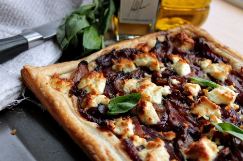 Caramelised Red Onion, Feta and Bacon Tart