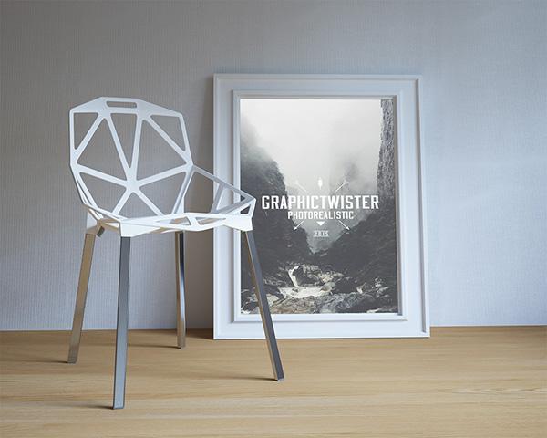 Download Poster Mockup PSD Terbaru Gratis - Single Poster Frame with Modern Chair