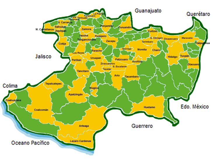 Morelia Michoacan Mexico Map - Michoacan mexico map