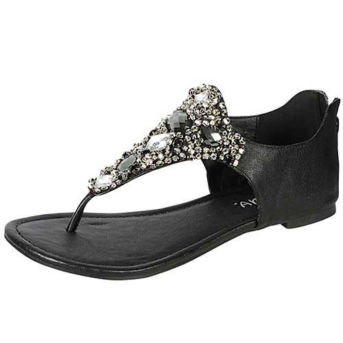 Black Gemstone Embellished Flat Sandals - Black flat sandals