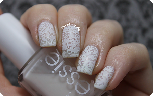 "essie ""tuck it in my tux"" lace rose stamping pueen"