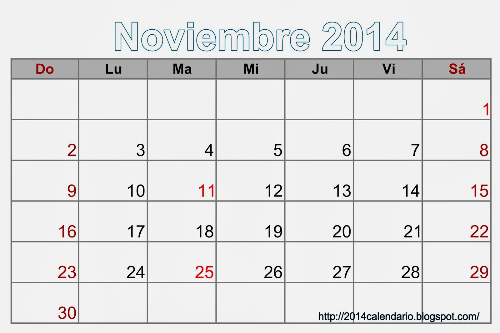 ... guardar la imagen de calendario para Noviembre 2014 calendar