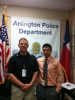 Det. Terry Martin (l) and SHSU intern Margarito Gonzales at the Arlington Police Department.