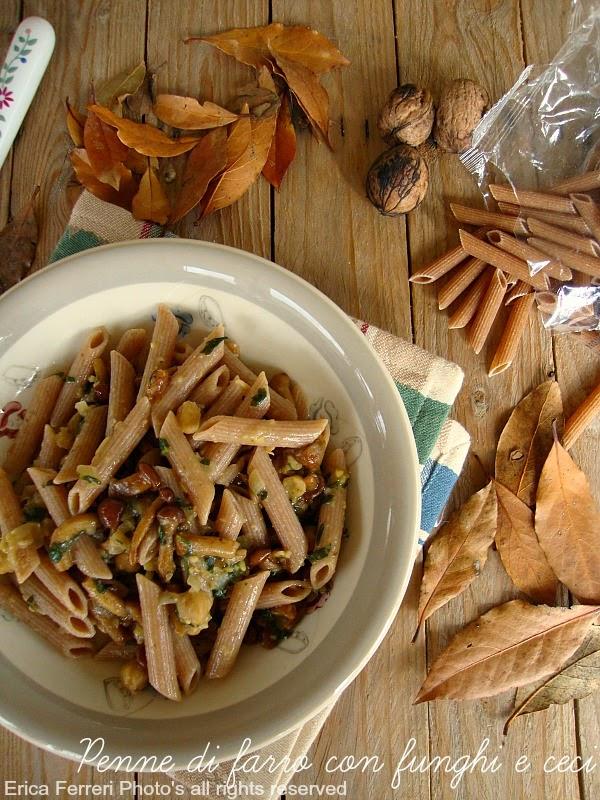 Ricetta Penne integrali di farro con funghi e crema di ceci