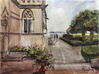 Amboise Garden Watercolor Painting on paper Popular Classic #Postcard or #Pochade size 6 x 8 inches or 15 x 20 cm , USD $95 Ideal as gift, hanging on its own or in groups due to small size