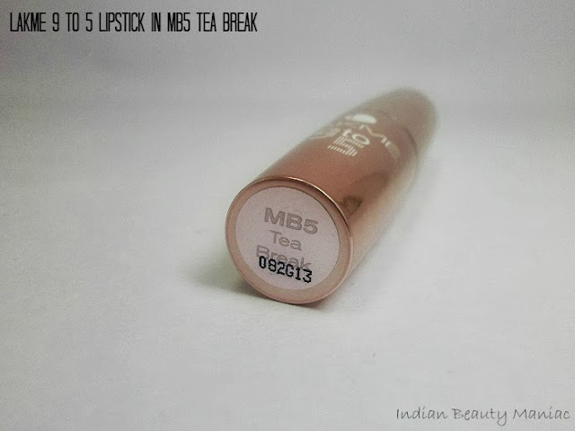 Lakme 9 to 5 Lipstick in MB5 Tea Break Review Swatch and On my Lips