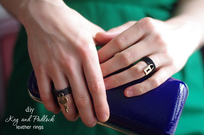 DIY Key and Padlock Leather Rings. Tutorial by Xenia Kuhn for www.fashionrolla.com