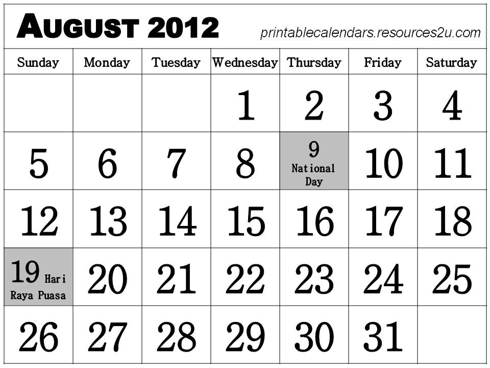 Free Homemade Calendars 2011 and 2012: August 2012 Singapore ...