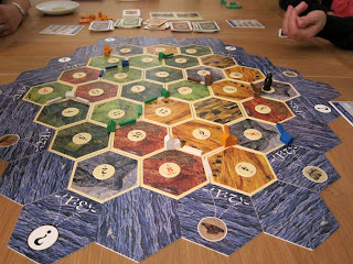 The game board for Settlers of Catan