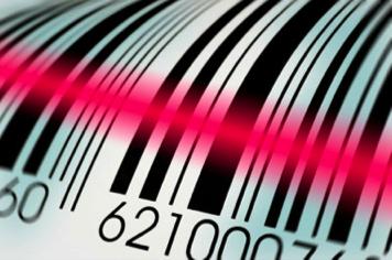 Ilustração de um código de barras com o laser passando sobre ele. O código de barras são varias linhas pretas e brancas paralelas. a espessura de cada linha signifca um número, que o computador decifra esse código.