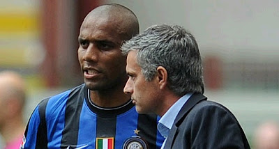 Maicon and Mourinho at Inter Milan