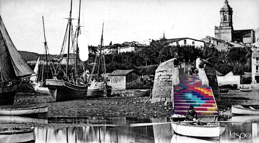 fotografia antigua del puerto de hondarribia con pescadores
