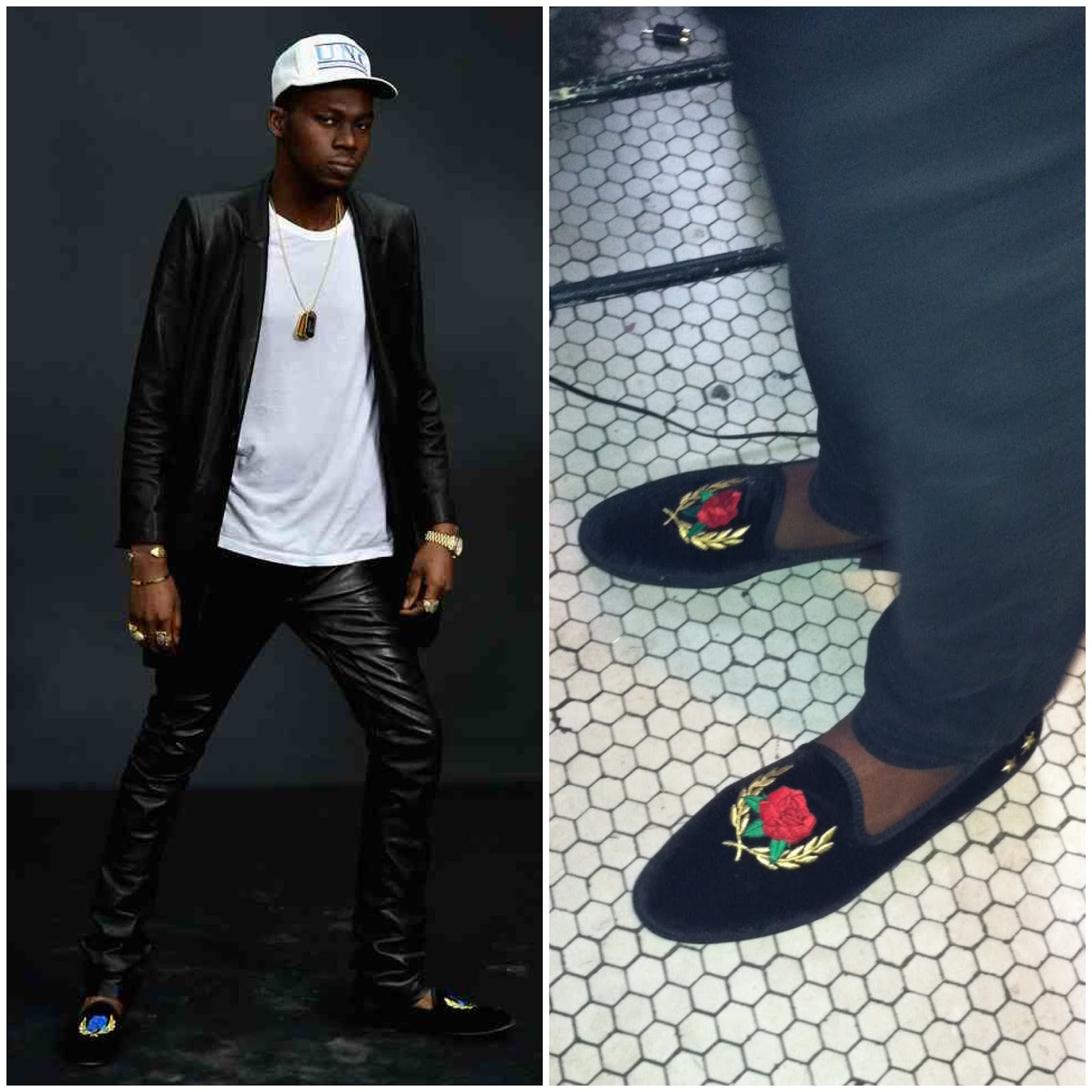 00O00 Menswear Blog Theophilus London attends the Chanel Fall/Winter 2013 Ready-to-Wear show as part of Paris Fashion Week at Grand Palais on March 5, 2013 in Paris, France, wearing Del Toro x Theophilus London Limited Edition LVRS Slipper - Edition II