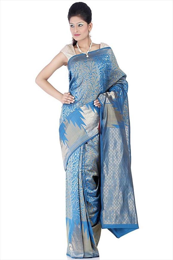 Cobalt Art Crepe Banarasi Saree