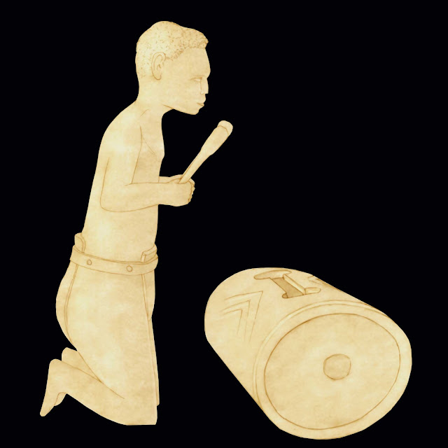 Congo, figura de marfil , tocando el tam-tam 2, dibujo