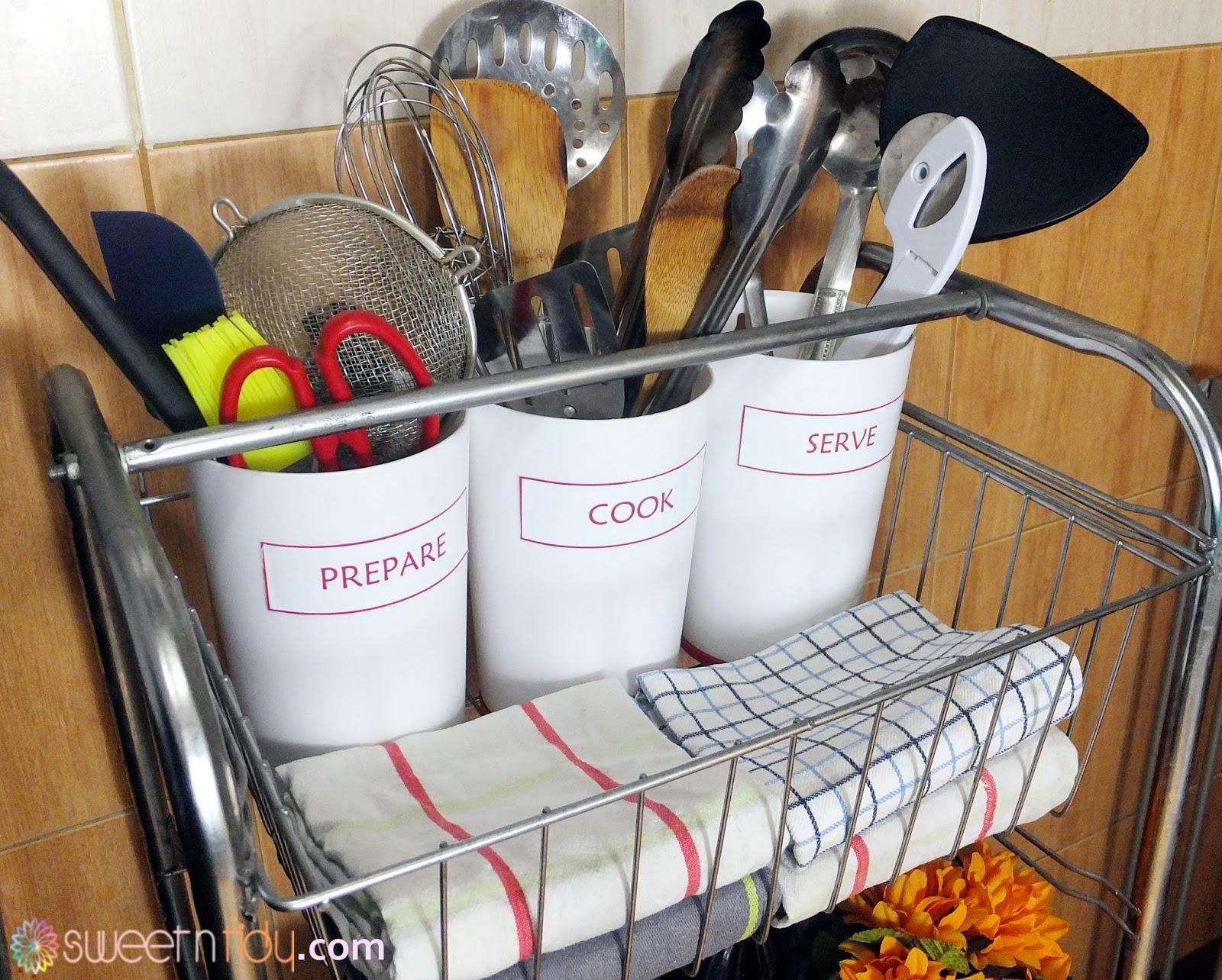Organize kitchen cart