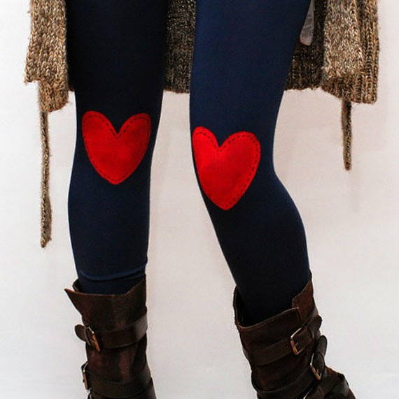 Ma Bicyclette - Buy Handmade - Clothing For Women - NETIE ART -Red Heart Patched Leggings
