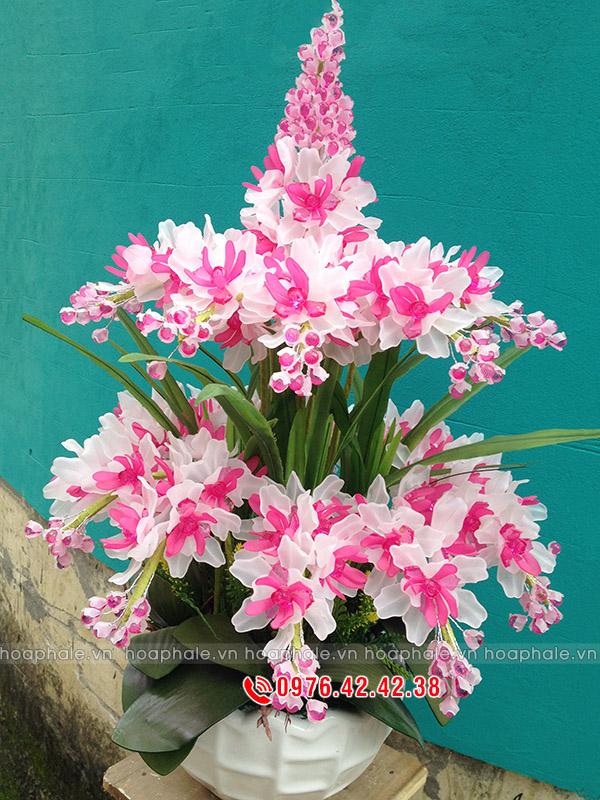 Hoa pha lê lan hồng trắng