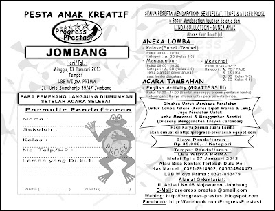 Progress Prestasi | Brosur Pesta Anak Kreatif - Progress Prestasi - Jombang