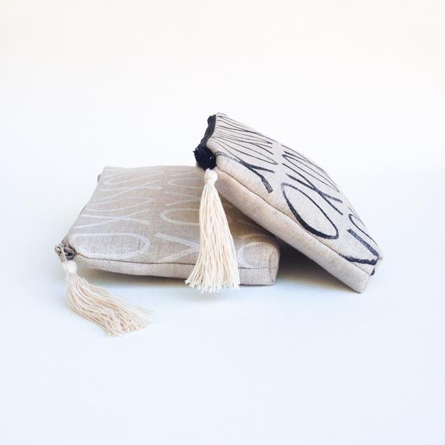 XO Linen Handprinted Clutches