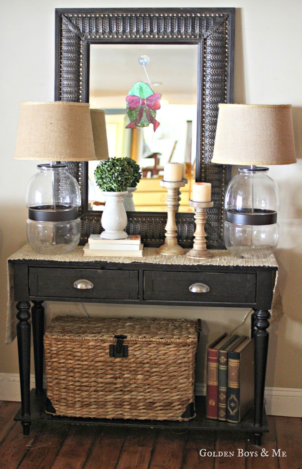 Spring console table with Target Threshold glass lamp-www.goldenboysandme.com