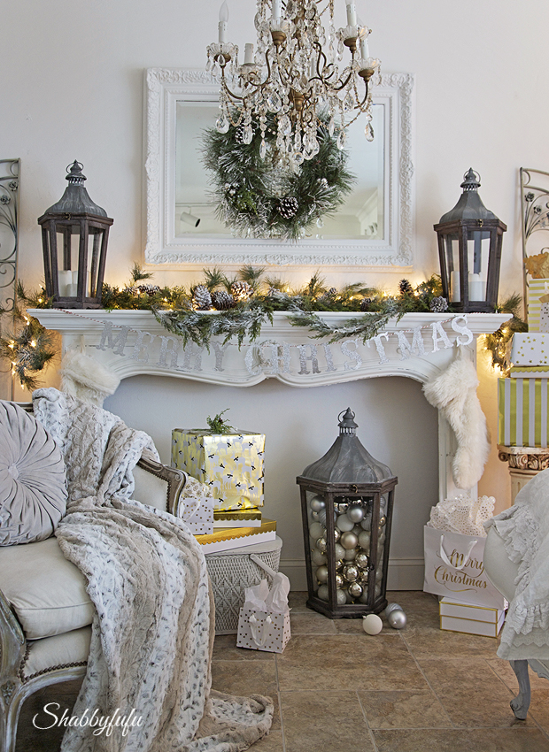 Christmas in the living room my holiday mantel for Parisian christmas decorations home