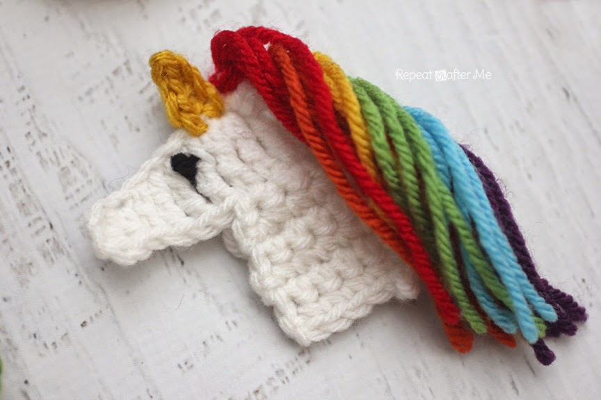 Crochet Unicorn : Repeat Crafter Me: U is for Unicorn: Crochet Unicorn Applique