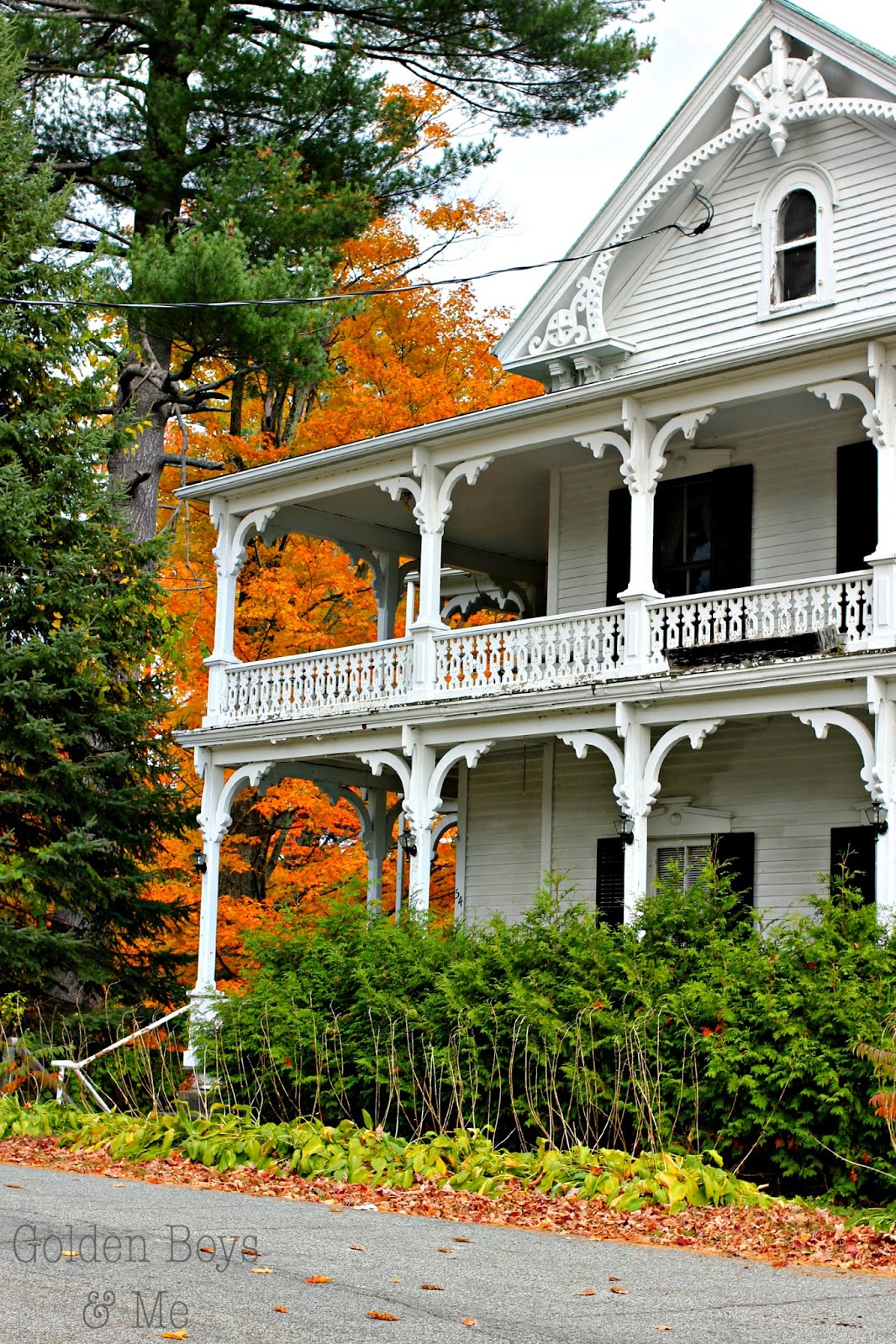 Woods Lodge in Schroon Lake, NY with fall foliage-www.goldenboysandme.com