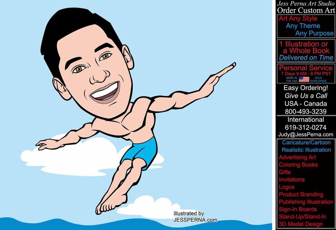 man diving in ocean party gift caricature caricatures and