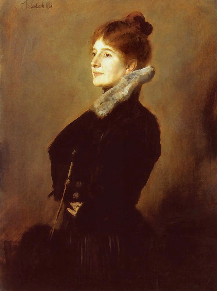 Franz  von  Lenbach  portrait  of  a  lady  wearing  a  black  coat  with  fur  collar