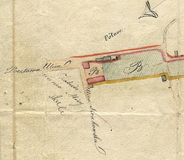 Plan gruntów należących do domu pocztowego w mieście Końskie, wymierzony w roku 1820 przez Juliusza Colberga (ojca Oskara Kolberga). Pokazano dwa skrajne fragmenty planu. Plan w kolekcji KW.