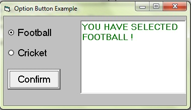 An easy program using option buttons
