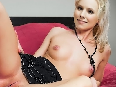 Kristen Bell nude on the bed spread legs show shaved pussy labia