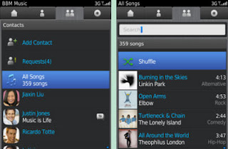 BBM Music Contact and Songs Search Interface