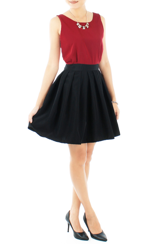 Burgundy Red Flare Skater Two-Tone Dress with Ribbon Back