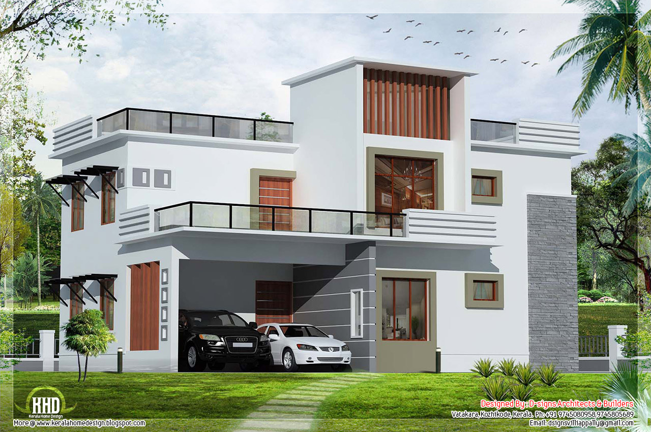 3500 luxury home design keralahousedesigns for Flat roof elevation