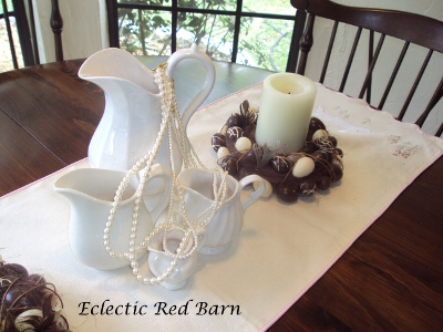 Eclectic Red Barn: White ironstone vases with perals and brown Easter candle holder