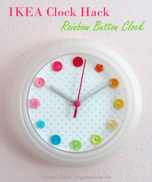 IKEA Hack Rainbow Button Clock
