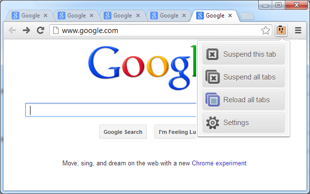 Google Chrome 瀏覽器 The Great Suspender 擴充功能