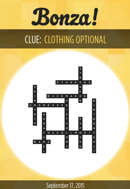 Bonza Daily Word Puzzle Clue Clothing Optional Answers September 17, 2015