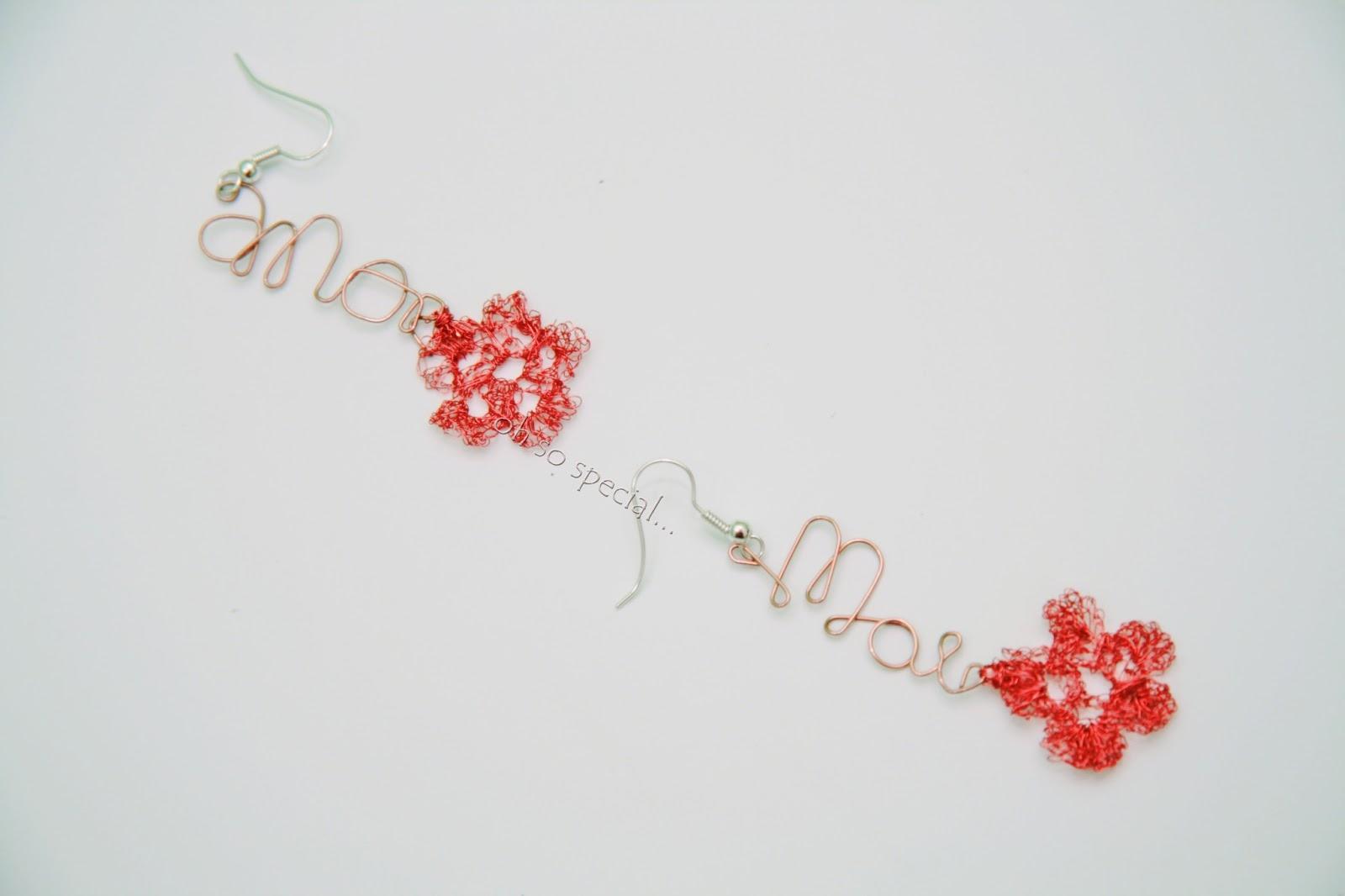kolczyki z szydełkowanymi z miedzi kwiatkami