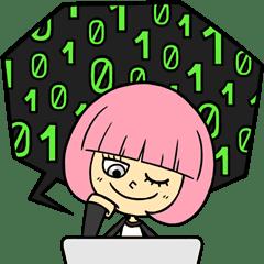 Sticker Facebook Hacker Girl