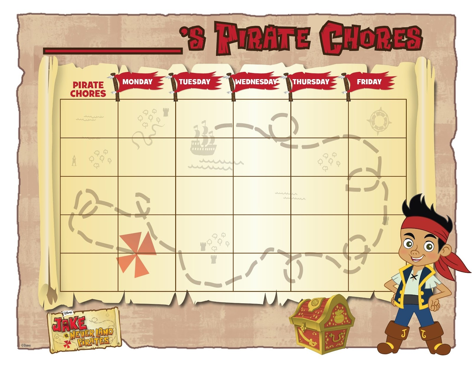 Jake and the neverland pirates treasure chest printable - Jake And The Never Land Pirates A Free Chore Sheet For Your Little One