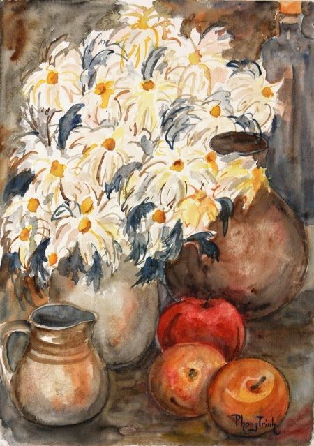 Wonderful Watercolor Painting Still Life with Flowers and Fruits