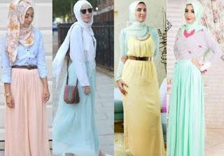 Foto Hijab Warna Pastel Trend 2016 Model Terbaru