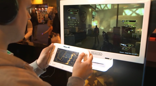 Wii U version of Deus Ex: Human Revolution being played on TV with map on GamePad touchscreen