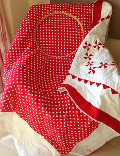 Red and White Pinwheel Quilt Laura Ashley Spot