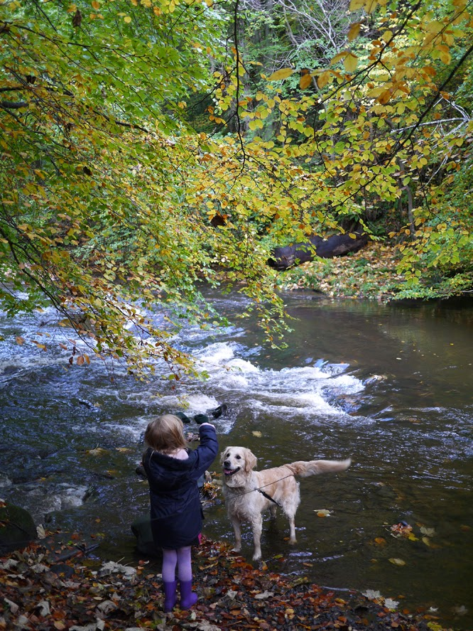 Coco with Gina the dog in the river, Edinburgh 2013